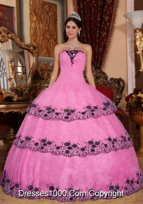 Rose Pink Ball Gown Strapless Organza Sweet 16 Dresses with Layers