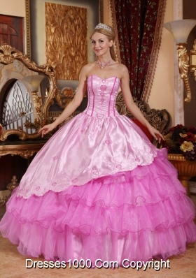 Rose Pink Ball Gown Sweetheart Oragnza Quinceanera Gowns with Embroidery and Layers