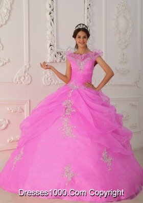 Rose Pink Ball Gown V-neck Organza Quinceanera Gown with Beading and Appliques