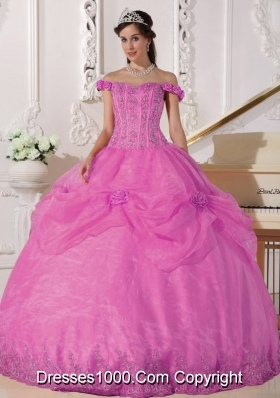 Rose Pink Off The Shoulder Organza Quinceanera Gowns with Appliques and Flowers