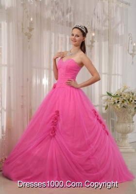 Rose Pink Princess Sweetheart Quinceneara Dresses with Flowers