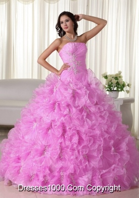 Rose Pink Strapless Organza Quinceanera Gowns with Ruffles and Appliques