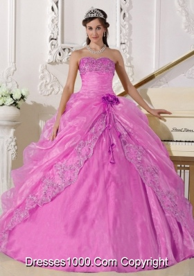 Rose Pink Strapless Organza Sweet Sixteen Dresses with Beading