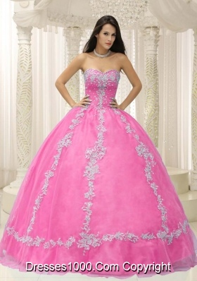 Rose Pink Sweetheart For 2014 Sweet Sixteen Dresses with Appliques and Beading
