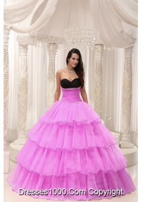 Rose Pink Sweetheart Princess Quinceanera Gowns with Beading and Layers