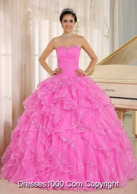 Ruffles and Beaded For Rose Pink Sweet Sixteen Dresses Custom Made