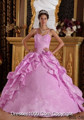 Spaghetti Straps Beading and Appliques Rose Pink Dresses For a Quince