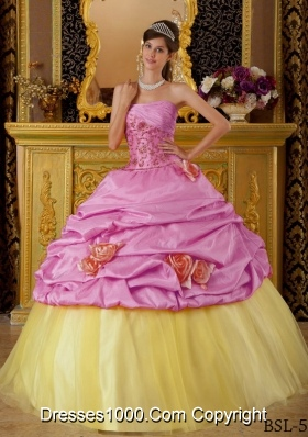 Strapless Beading and Flowers for Rose Pink and Yellow Quinceanera Dresses