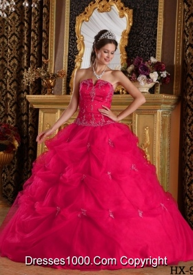 Sweet Hot Pink Puffy Strapless Beading and Appliques for 2014 Quinceanera Dresses