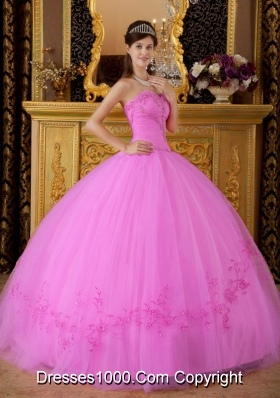 Sweetheart Tulle Appliques Rose Pink Quinceanera Gowns with Appliques