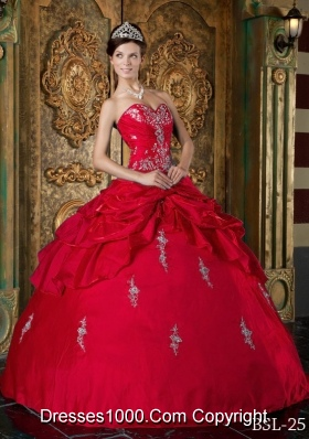 The Super Hot Red Puffy Sweetheart 2014 Appliques Quinceanera Dresses