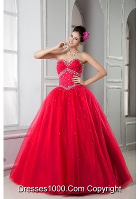 2014 Pretty Princess Red Puffy Sweetheart Beading Quinceanera Dressses