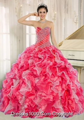 2014 Pretty Quinceanera Dresses with Sweetheart Beading and Ruffles