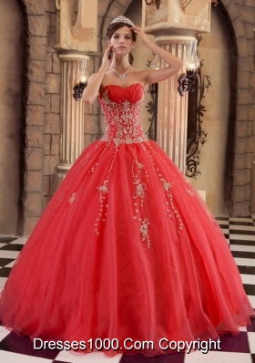 2014 Pretty Red A-line Appliques and Beading Quinceanera Dresses