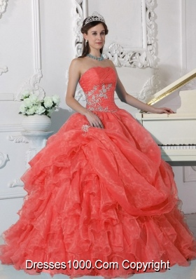 2014 Pretty Red Puffy Strapless Quinceanera Dress with Beading