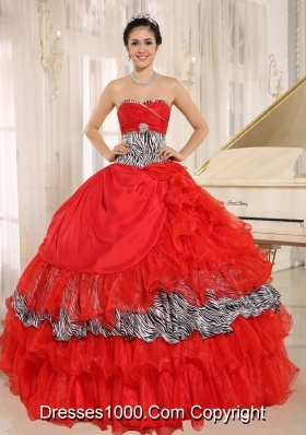 2014 Wholesale Red Sweetheart Zebra Quinceanera Dresses With Beading