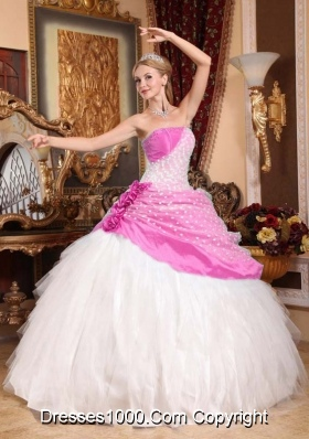 Beautiful Princess Strapless Sweet 16 Dresses with Hand Made Flowers