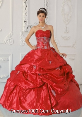Brand New Puffy Red Sweetheart 2014 Spring Appliques Quinceanera Dresses