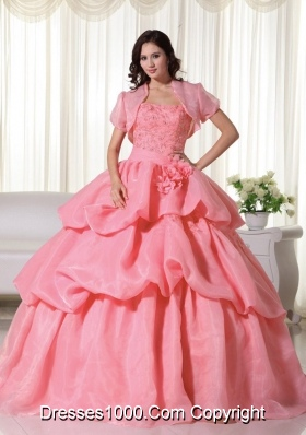 Discount Strapless Organza Hand Made Flowers Quinceanera Dress with Pick-ups