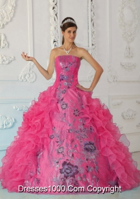 Exquisite Hot Pink Quinceanera Gowns with Ruffles and Embroidery