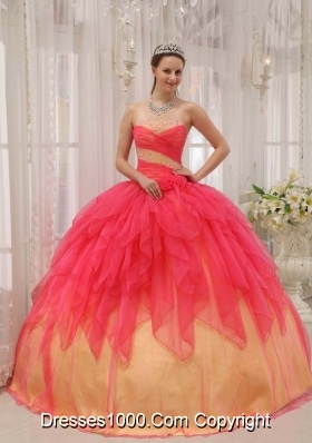 Exquisite Red Puffy Strapless 2014 Quinceanera Dresses
