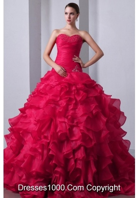 Hot Pink Princess Sweetheart Beading and Ruffles Quinceanea Dresses with Brush Train