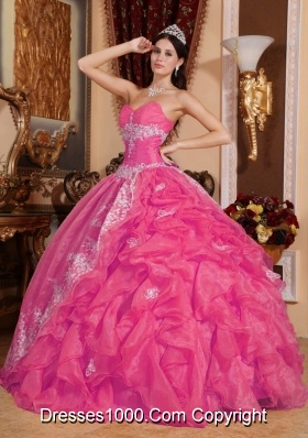 Hot Pink Sweetheart Quinceanera Gown Dresses with Appliques and Pick-ups