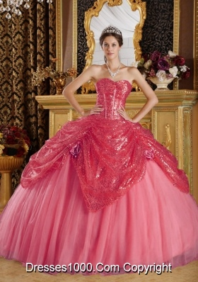 Lovely Puffy Sweetheart Sequines 2014 Quinceanera Dresses