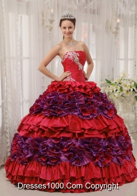 Lovely Red Puffy Strapless Appliques and Ruching 2014 Quinceanera Dresses