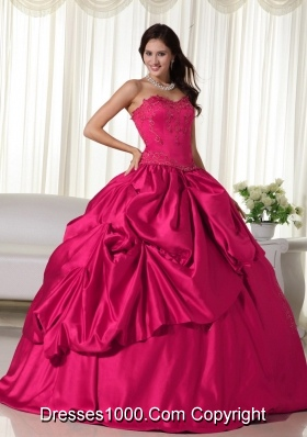 Lovely Red Puffy Sweetheart Embroidery Quinceanera Dresses for 2014