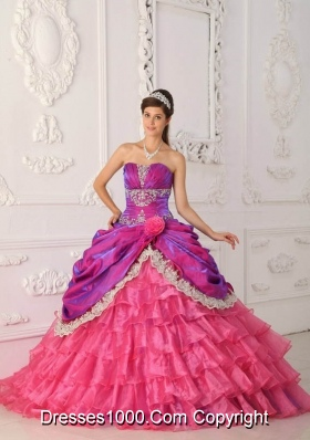 Luxrious Strapless Pink Quincenera Dresses with Lace and Appliques