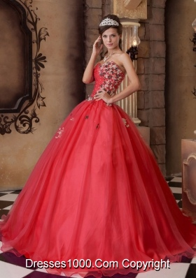 New Style Red A-line Sweetheart Appliques 2014 Quinceanera Dresses