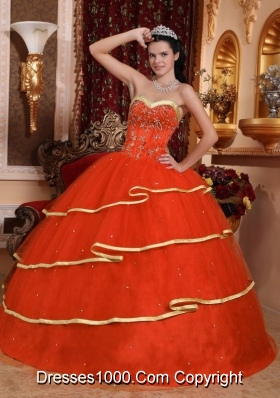 New Style Red Puffy Sweetheart Beading Quinceanera Dress for 2014