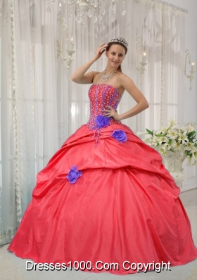 Perfect Red Puffy Strapless Beading Sweet 16 Dresses for 2014