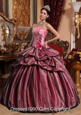 Pink Puffy Strapless Sweet 15 Dresses with Hand Made Flower and Pick-ups