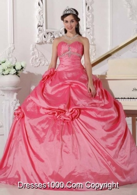 Pink Puffy Sweetheart Sweet Sixteen Dresses with Hand Made Flowers and Beading