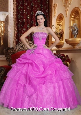 Pink Strapless Sweet 16 Dresses with Beading and Pick-ups