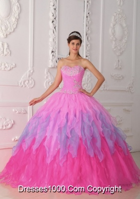 Pink Sweetheart Organza Quinceneara Dresses with Beading and Ruffles