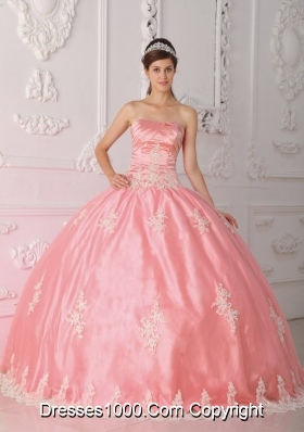 Pretty Puffy Strapless Pink Quinceanera Gown with Appliques