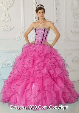 Pretty Strapless Organza Pink Quinceanera Gowns with Ruffles and Appliques