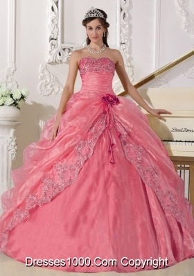 Pretty Strapless Organza Quinceanera Gowns with Embroidery and Beading