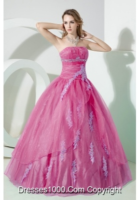 Princess Strapless Organza Beading Pink Quinceanera Dress with Appliques