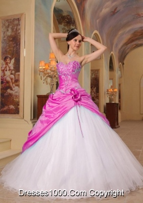 Princess Sweetheart Pink and White Quinceanera Dress with Beading