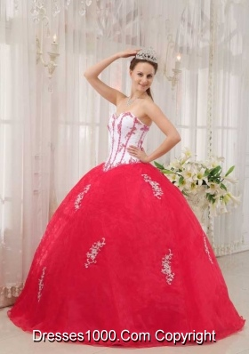 Puffy Red Sweetheart 2014 Appliques Quinceanera Dresses