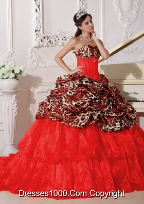 Puffy Sweetheart 2014 Appliques Quinceanera Dresses with Brush Train