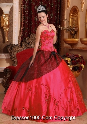 Red Puffy Sweetheart 2014 Embroidery with Beading Quinceanera Dresses