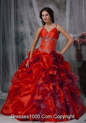 Red Spaghetti Straps Organza Beading and Ruffles Sweet Sixteen Dresses