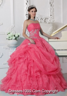 Strapless Organza Quinceaneras Dresses with Beading and Ruffles