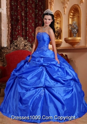 2014 Strapless Beading Royal Blue Quinceanera Dresses with Pick-ups