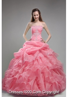 Ball Gown Orangza Pink Quinceanera Gown Dresses with Beading and Ruffles